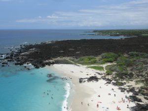 Low altitude aerial photograph of Manini Owali Beach at Kua Bay, looking north toward the Four Seasons Resort Island of Hawaii, Hawaii, USA