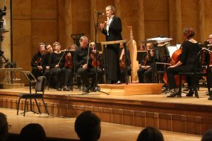symphony4 Resident conductor Sara Jobin introduces the Toledo Symphony Orchestra's Young People's Concert Thursday, November 3, 2016, in the Peristyle at the Toledo Museum of Art. More than 1,000 people, many of them children from local schools, attended two shows. THE BLADE/ KATIE RAUSCH